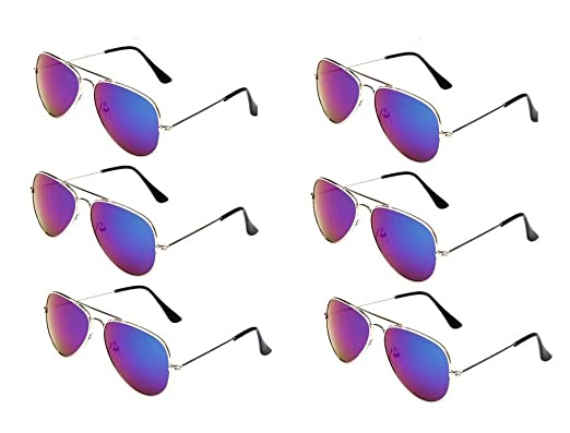 8cdca7e176 WODISON Classic Kids Aviator Sunglasses Bulk Reflective Metal Frame Children  Eyeglass 6 Pack  Amazon.co.uk  Clothing