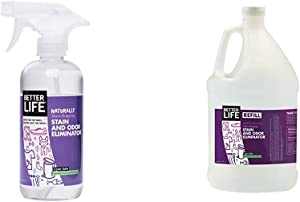 Better Life Natural Plant Based Stain & Odor Eliminators and Stain & Odor Eliminator, Eucalyptus & Lemongrass, 16oz Bottle + 1gal Refill (8 Bottles)