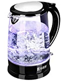 Habor Electric Kettle (BPA Free), FDA Approval Water Boiler 1500W Fast Heating Pot, 1.8 QT (1.7 L) Visible Blue Lights Bright Glass Body, Auto Shut-Off Boil-Dry Protection Stainless Steel Inner Lip