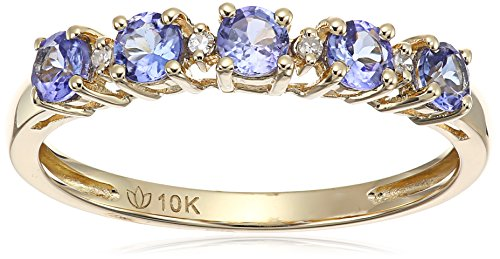 10k Yellow Gold Tanzanite and Diamond Accented Stackable Ring, Size 7