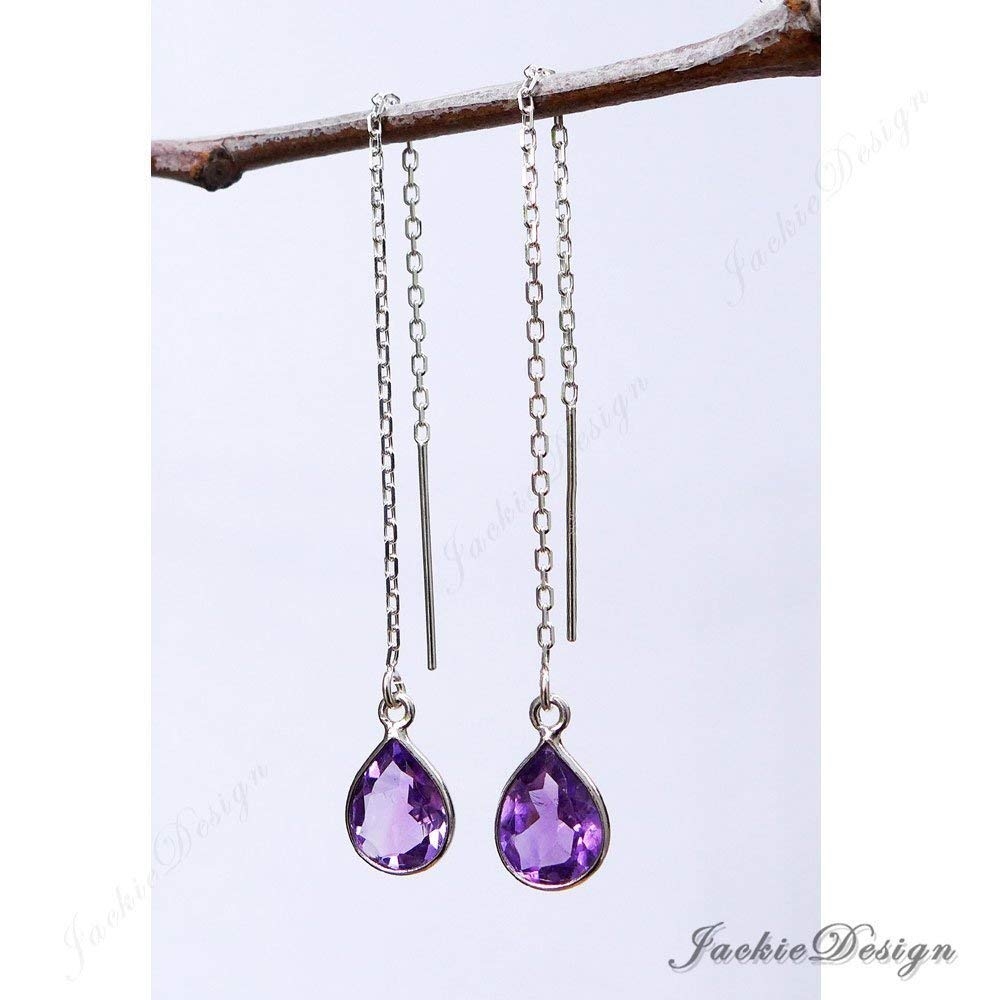 10mm Tear Drop Purple Amethyst Threader Sterling Silver Chain Earrings JD53