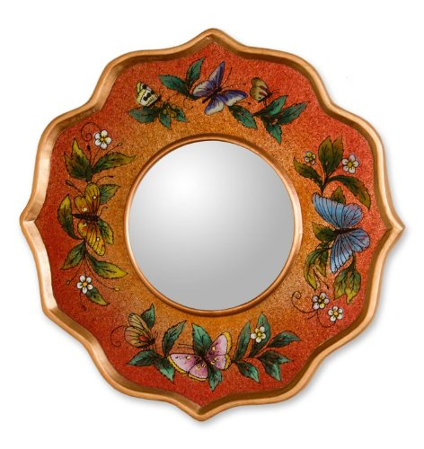 NOVICA Reverse Painted Wood and Glass Wall Mounted Mirror, Orange and Multicolor (Reverse Painted Wall)