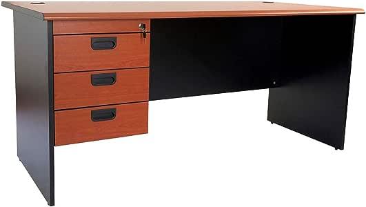 Mahmayi Metal Silini Office Desk, GE160HD, Cherry/Black, H75 x W80 x D160 cm