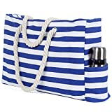 Truebest Beach Bag, L22 xH15 xW6 inch, Large Canvas Beach Tote Bag with Zipper and Pocket, Built-in 100% Waterproof Phone Case