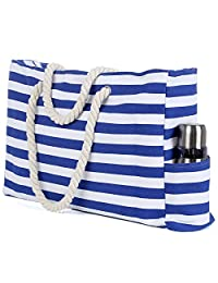 """Beach Bag, L22""""xH15""""xW6"""", Truebest Large Canvas Beach Tote Bag with Zipper and Pocket, Built-in 100% Waterproof Phone Case, Bottle Opener and Key Holder"""