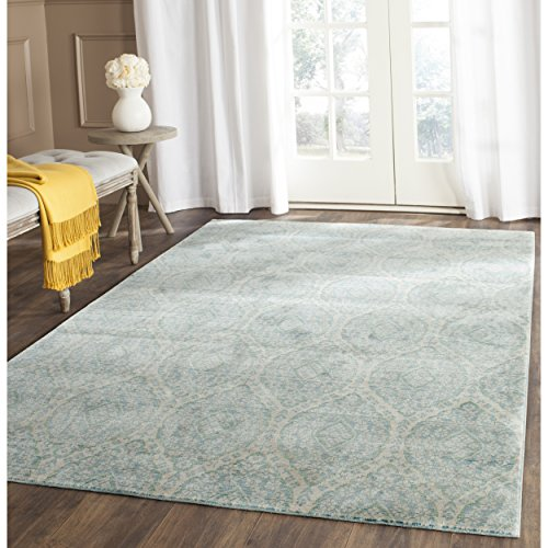 Distressed Cream - Safavieh Valencia Collection VAL206J Alpine and Cream Vintage Distressed Silky Polyester Area Rug (9' x 12')