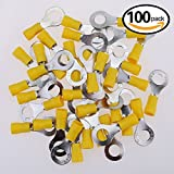 10 gauge insulated wire - Glarks 100pcs 12-10 Gauge M8 Ring Electrical Insulated Quick Splice Crimp Terminals Connectors