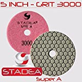 Stadea Diamond Polishing Sanding Disc - 5'' Concrete Granite Stone Polishing Dry Grit 3000, DPPD05SPRA30001P