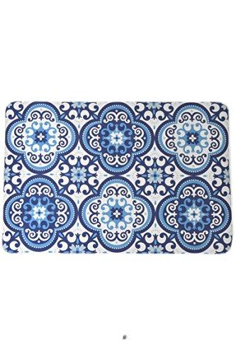 - American Chateau Blue & White Talavera Tile Design Rug Floor Bath Kitchen Mat with Non-Slip Backing