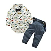 Top and Top Baby Boys Dinosaur Shirt Bowtie Clothes Suspender Clothing Set Denim Jeans (70/0-6 Months)