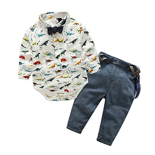 Denim Suspenders (Top and Top Baby Boys Dinosaur Shirt Bowtie Clothes Suspender Clothing Set Denim Jeans (80/6-12 Months))