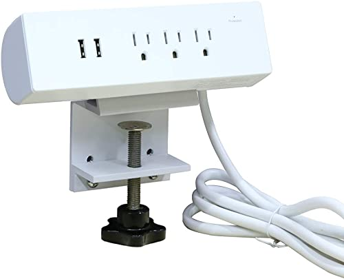 3 Outlet Surge Protector Power Strip with Desk Clamp, 2 USB Charging Ports 6ft Extension Cord for Lifting Table Edge Mount,Removable and Easy to Install