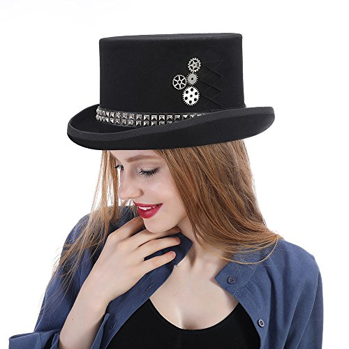 LFLING Woolen Top Hat Women Men Unisex Steampunk Hat Steam Punk Fedoras Top Hat Topper by LFLING (Image #5)