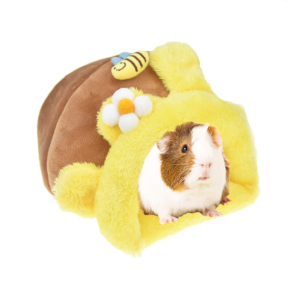 FLAdorepet Rabbit Guinea Pig Hedgehog Snuggle Sack Fleece Bed for Cage Small Animal Hamster Chinchilla Bed House for Squirrel Rat L, Yellow