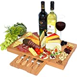 wine and cheese accessories - Unique Bamboo Cheese Board, Charcuterie Platter & Serving Tray Including 4 Stainless Steel Knife & Thick Wooden Server - Fancy House Warming Gift & Perfect Choice for Gourmets (Bamboo)