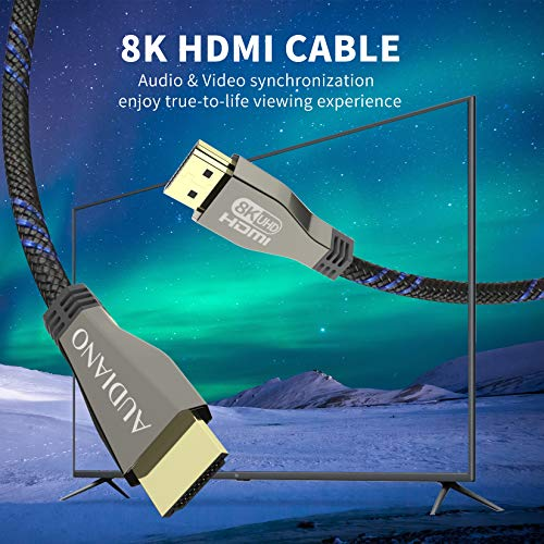 8K 48Gbps HDMI Cable, AUDIANO Ultra High Speed Nylon Braided HDMI 2.1 Cord 4K 120Hz Dynamic HDR Compatible with Apple TV Roku Sony Samsung LG Xbox Series X/S Playstation PS4/5 Blu-ray and More-6.6ft