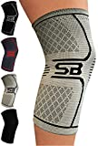 SB SOX Compression Knee Brace for Knee Pain - Braces and Supports Knee for Pain Relief, Meniscus Tear, Arthritis, Injury, Running, Joint Pain, Support (Large, Gray/Black)