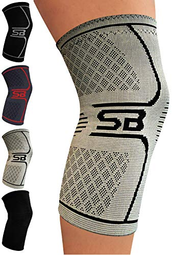 (SB SOX Compression Knee Brace for Knee Pain - Braces and Supports Knee for Pain Relief, Meniscus Tear, Arthritis, Injury, Running, Joint Pain, Support (X-Large, Gray/Black))