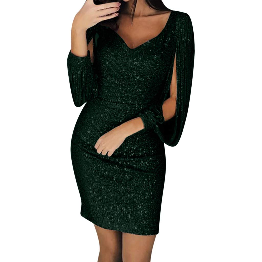 Women Sequin V-Neck Stitching Shining Club Sheath Long Sleeved Mini Dress Ladies Bodycon Cocktail Party Dress (S, Green)