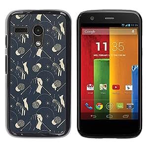 Be Good Phone Accessory // Dura Cáscara cubierta Protectora Caso Carcasa Funda de Protección para Motorola Moto G 1 1ST Gen I X1032 // Vintage Wallpaper Pattern Grey Mushrooms