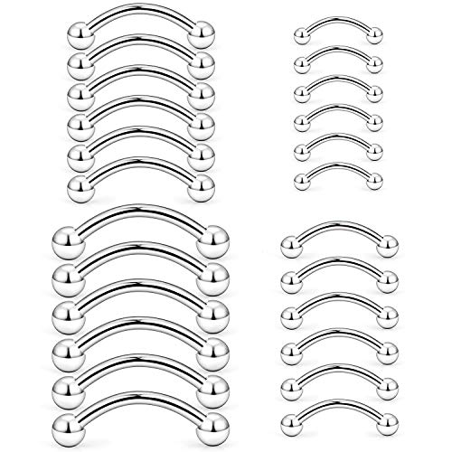 Hoeudjo Eyebrow Piercing Jewelry 16G Surgical Steel Curved Barbell with Ball Kit Tragus Ring Piercings Jewelry 24Pcs 6mm 8mm 10mm 12mm Silver-Tone