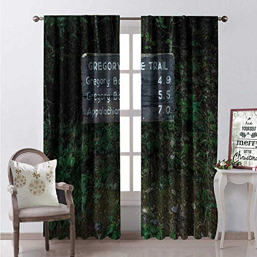 Hengshu Appalachian Trail Thermal Insulating Blackout Curtain Photo of Gregory Ridge Trail Sign at Trailhead in Cades Cove Blackout Draperies for Bedroom W120 x L108 Emerald and Dark Taupe