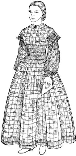 Victorian Sewing Patterns- Dress, Blouse, Hat, Coat, Mens 1858-1864 A Sheer Muslin Dress with Bishop Sleeves Oversleeves & High Lining Pattern $29.40 AT vintagedancer.com