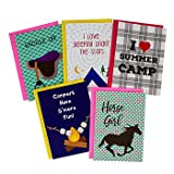 Summer Camp Greeting Cards for Horseback Riding Girls - 5 Different Camp Themed Cards and Envelopes - 5 x 7 Inches