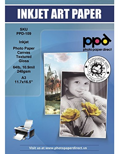 PPD Inkjet Glossy Canvas Textured Heavyweight Photo Paper A3 (11.7x16.5'') 64lbs. 240gsm 10.9mil x 50 sheets (PPD109-50)