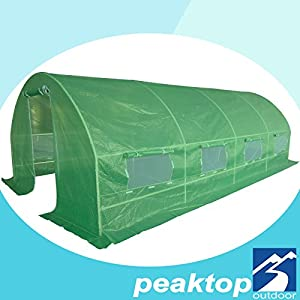 Peaktop Portable Large Greenhouse Outdoor Walk in Grow Garden Plant Growing Green House Hot Tent 20' X 10' X 6' Steel Framework with 8 Vents 2 Doors 20 Stakes