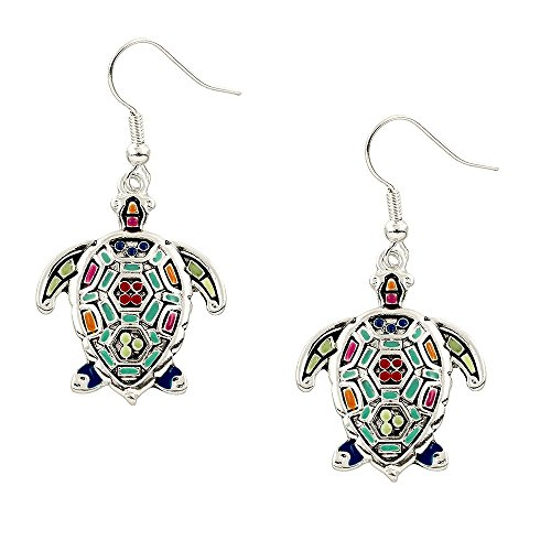 Liavy's Multi-Color Sea Turtle Fashionable Earrings - Mosaic Art - Fish Hook - Unique Gift and ()