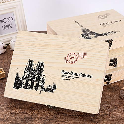 Dig dog bone Creativity Loose-Leaf Retro Wooden Box Graduation Message Album Book -
