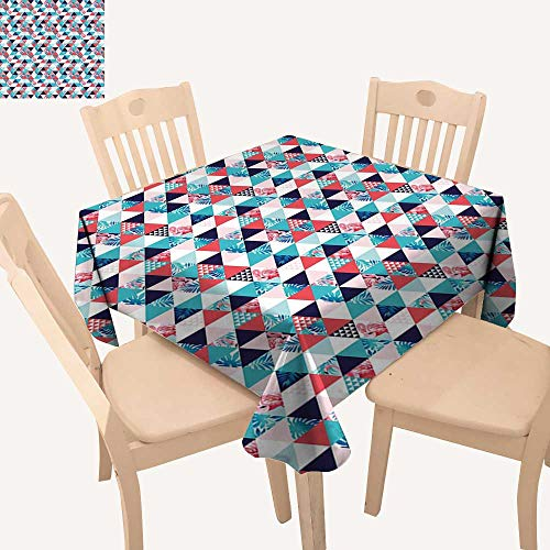 Triangles Pool Tablecloth (haommhome Flamingo Square Tablecloth Horizontal Triangles Geometrical Frames with Exotic Beach Elements Mosaic Design Table Cloths Spill Proof W 54