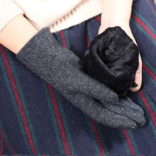 CACUSS Gloves Women Autumn and Winter Knit Gloves for Women Warm Touch Screen Gloves Wear-resistant Cycling Travel Windproof Finger Gloves Ladies (Dark gray) by CACUSS (Image #4)