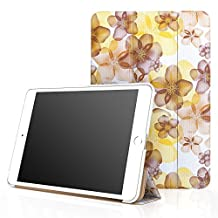 iPad Mini 4 Case, Moko Ultra Slim Lightweight Smart-shell Stand Cover Case With Auto Wake / Sleep for Apple iPad Mini 4 (2015 edition) 7.9 inch iOS Tablet, Floral YELLOW