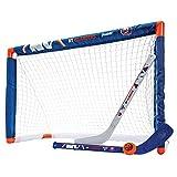 Franklin Sports New York Islanders Mini Hockey  Set - Knee Hockey Goal, Ball, & 2 Hockey Stick Combo Set - Mini Goal Net - NHL Official Hockey Set