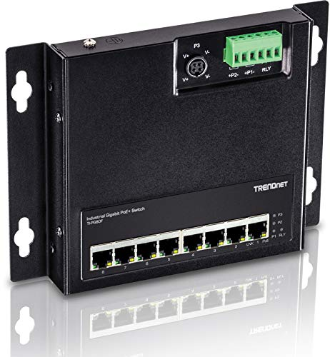 TRENDnet 8-Port Industrial Gigabit Poe+ Wall-Mounted Front Access Switch, 8X Gigabit Poe+ Ports, DIN-Rail Mount, 48 -57V DC Power Input, IP30, 200W Poe Budget,Lifetime Protection, TI-PG80F