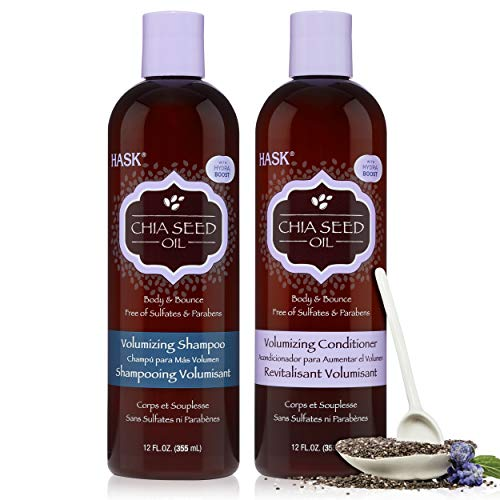 HASK CHIA SEED Shampoo and Conditioner Set Volumizing for all hair types, color safe, gluten free, sulfate free, paraben free - 1 Shampoo and 1 Conditioner