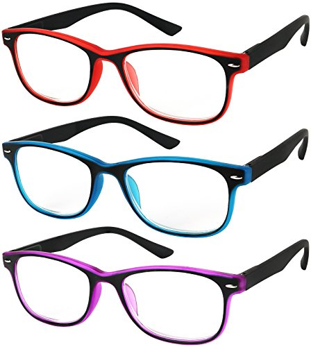 Reading Glasses Set of 3 Spring Hinge Comfort 3 Color Fashion Readers Glasses for Reading Men & Women - Glasses Color Frame