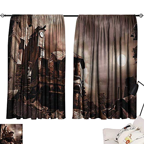 Anzhutwelve Valance Curtains Night Sky,Destroyed Buildings Clock Tower The Moon and The Clouds in The Sky Print,Maroon and Beige W63 x L63 Blackout Window Treatment