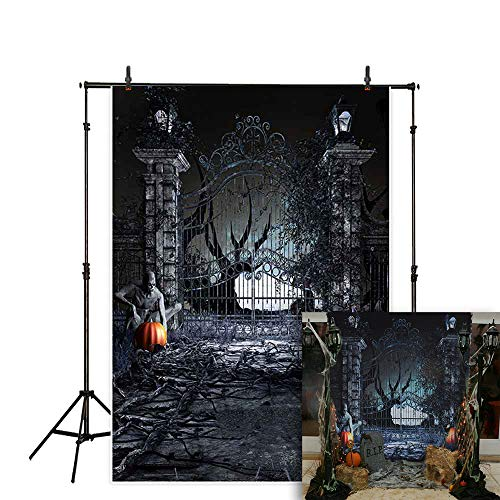 Allenjoy 5x7ft Halloween Photography Backdrop Dark Night Scary Graveyard Fence Jack O'Lantern Pumpkin Lantern Devil Forest Background Children Party Decorations Cake Table Banner Photo Studio Booth]()