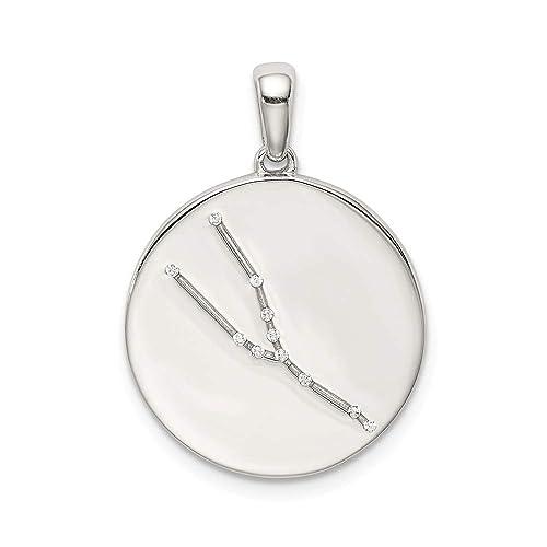 Colgante de plata de ley y circonita cúbica con circonita tauro zodiaco: Amazon.es: Joyería