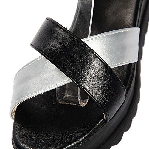 AllhqFashion Women's Open Toe Buckle PU Solid Kitten Heels Sandals Black uXrml5