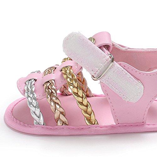 Blanco Zapatos 12CM de Sandalias Ocamo para a Tejidas la Suave Verano Suela bebé Moda Bottom Rosa Length p7wdR4q