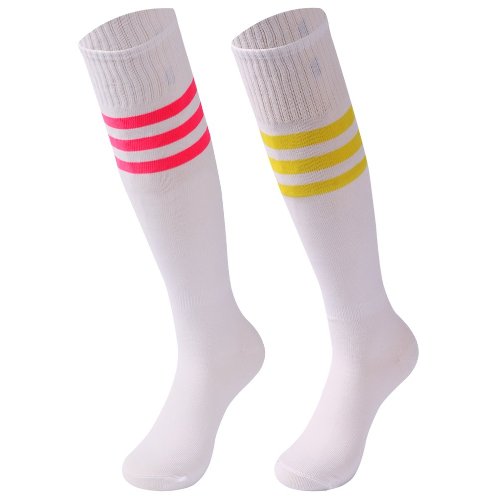 saounisi Men Team Socks Soccer,2 Pairs Football Volleyball Athletic Sports Knee High Tube Long Game Socks Size 9-13 Rose Red/Yellow Stripe by saounisi