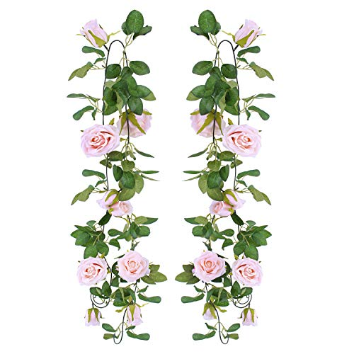 OUTLEE 2 Pack Fake Rose Vines Artificial Flowers Garland Hanging Rose Ivy Plants for Home Wall Party Decor Pink