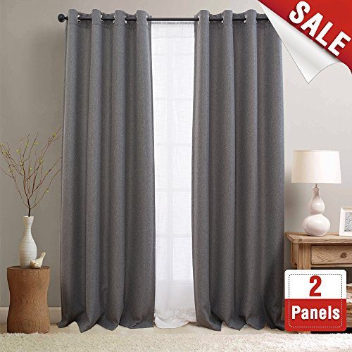 Textured Linen Curtain Panels for Bedroom Room Darkening Window Panels Blackout Curtains for Living Room, Grommet Top One Pair, L 84