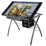 ZENY Glass Top Craft Station Drafting Table Drawing Desk Adjustable to 62 Degree w/ Drawers