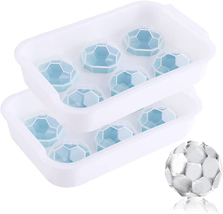 2Pack Ice Ball Maker Mold Round Ice Cube Mold Chill Ice Ball Maker Reusable 6-cavity Giant Sphere Ice Maker with Lid for Chilling Whiskey Wine Cocktail Beverages Juice and Jelly Baby Food Making