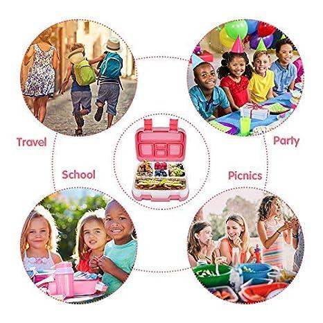 Bento Box Kids Brotdose Kinder Auslaufsicher Kinder Lunchbox mit 5 Unterteilungen Jelife Upgrade Version